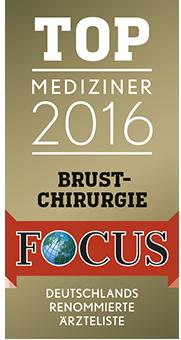 Auszeichnung Focus TOP Mediziner 2016 im Bereich Brustchirurgie für Dr. Olaf Kauder - Praxis Plastische Chirurgie Berlin